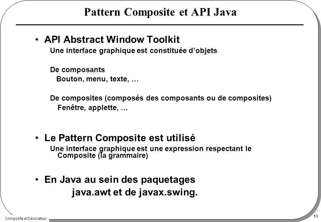 Composite et Décorateur 13 Pattern Composite et API Java API Abstract Window Toolkit Une interface graphique est constituée dobjets De composants Bouton, menu, texte, … De composites (composés des composants ou de composites) Fenêtre, applette, … Le Pattern Composite est utilisé Une interface graphique est une expression respectant le Composite (la grammaire) En Java au sein des paquetages java.awt et de javax.swing.