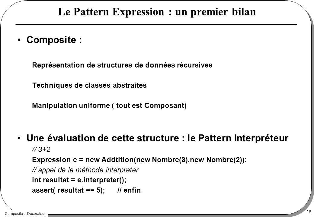 Composite et Décorateur 18 Le Pattern Expression : un premier bilan Composite : Représentation de structures de données récursives Techniques de classes abstraites Manipulation uniforme ( tout est Composant) Une évaluation de cette structure : le Pattern Interpréteur // 3+2 Expression e = new Addtition(new Nombre(3),new Nombre(2)); // appel de la méthode interpreter int resultat = e.interpreter(); assert( resultat == 5); // enfin