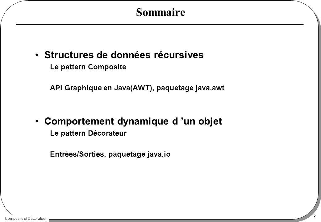 Composite et Décorateur 2 Sommaire Structures de données récursives Le pattern Composite API Graphique en Java(AWT), paquetage java.awt Comportement dynamique d un objet Le pattern Décorateur Entrées/Sorties, paquetage java.io
