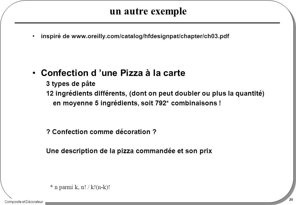 Composite et Décorateur 26 un autre exemple inspiré de www.oreilly.com/catalog/hfdesignpat/chapter/ch03.pdf Confection d une Pizza à la carte 3 types de pâte 12 ingrédients différents, (dont on peut doubler ou plus la quantité) en moyenne 5 ingrédients, soit 792* combinaisons .