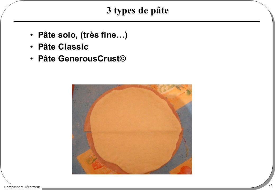 Composite et Décorateur 27 3 types de pâte Pâte solo, (très fine…) Pâte Classic Pâte GenerousCrust©