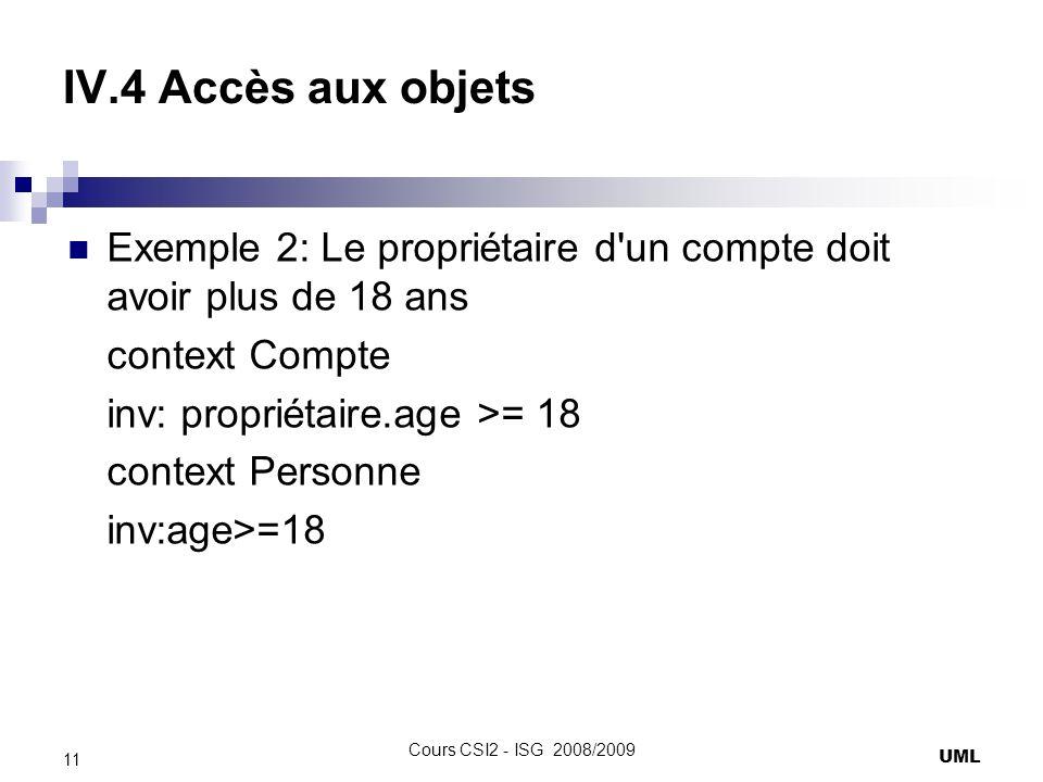 IV.4 Accès aux objets Exemple 2: Le propriétaire d un compte doit avoir plus de 18 ans context Compte inv: propriétaire.age >= 18 context Personne inv:age>=18 UML 11 Cours CSI2 - ISG 2008/2009
