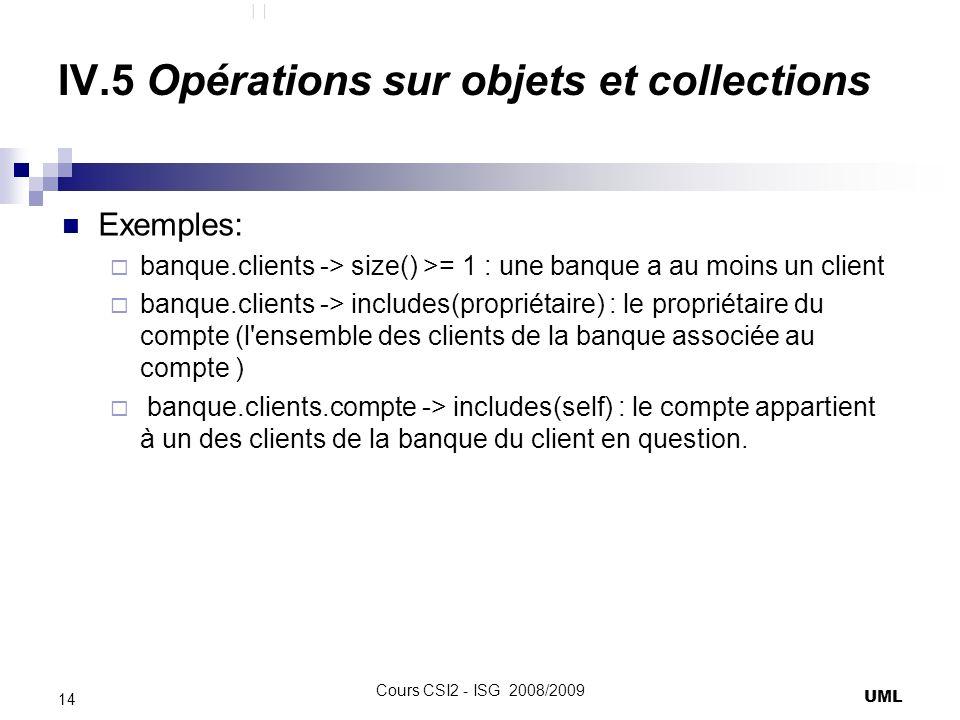 IV.5 Opérations sur objets et collections Exemples: banque.clients -> size() >= 1 : une banque a au moins un client banque.clients -> includes(propriétaire) : le propriétaire du compte (l ensemble des clients de la banque associée au compte ) banque.clients.compte -> includes(self) : le compte appartient à un des clients de la banque du client en question.