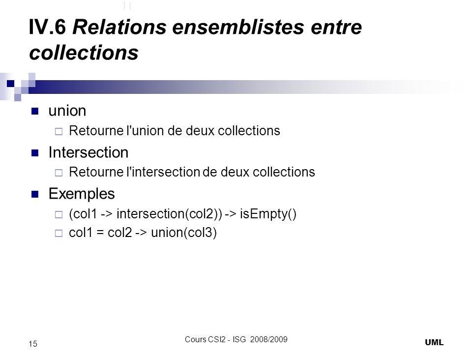 IV.6 Relations ensemblistes entre collections union Retourne l union de deux collections Intersection Retourne l intersection de deux collections Exemples (col1 -> intersection(col2)) -> isEmpty() col1 = col2 -> union(col3) UML 15 Cours CSI2 - ISG 2008/2009