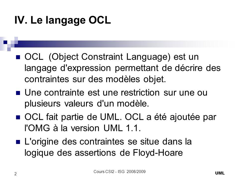IV. Le langage OCL OCL (Object Constraint Language) est un langage d'expression permettant de décrire des contraintes sur des modèles objet. Une contr