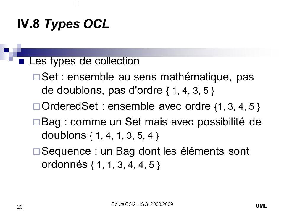 IV.8 Types OCL Les types de collection Set : ensemble au sens mathématique, pas de doublons, pas d ordre { 1, 4, 3, 5 } OrderedSet : ensemble avec ordre {1, 3, 4, 5 } Bag : comme un Set mais avec possibilité de doublons { 1, 4, 1, 3, 5, 4 } Sequence : un Bag dont les éléments sont ordonnés { 1, 1, 3, 4, 4, 5 } UML 20 Cours CSI2 - ISG 2008/2009