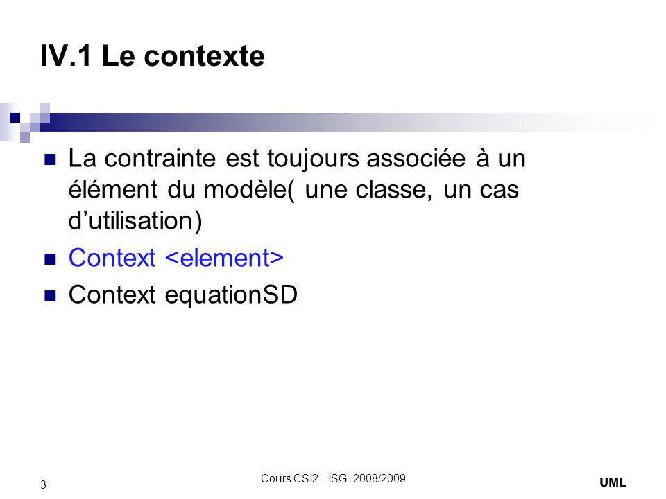 IV.1 Le contexte La contrainte est toujours associée à un élément du modèle( une classe, un cas dutilisation) Context Context equationSD UML 3 Cours CSI2 - ISG 2008/2009