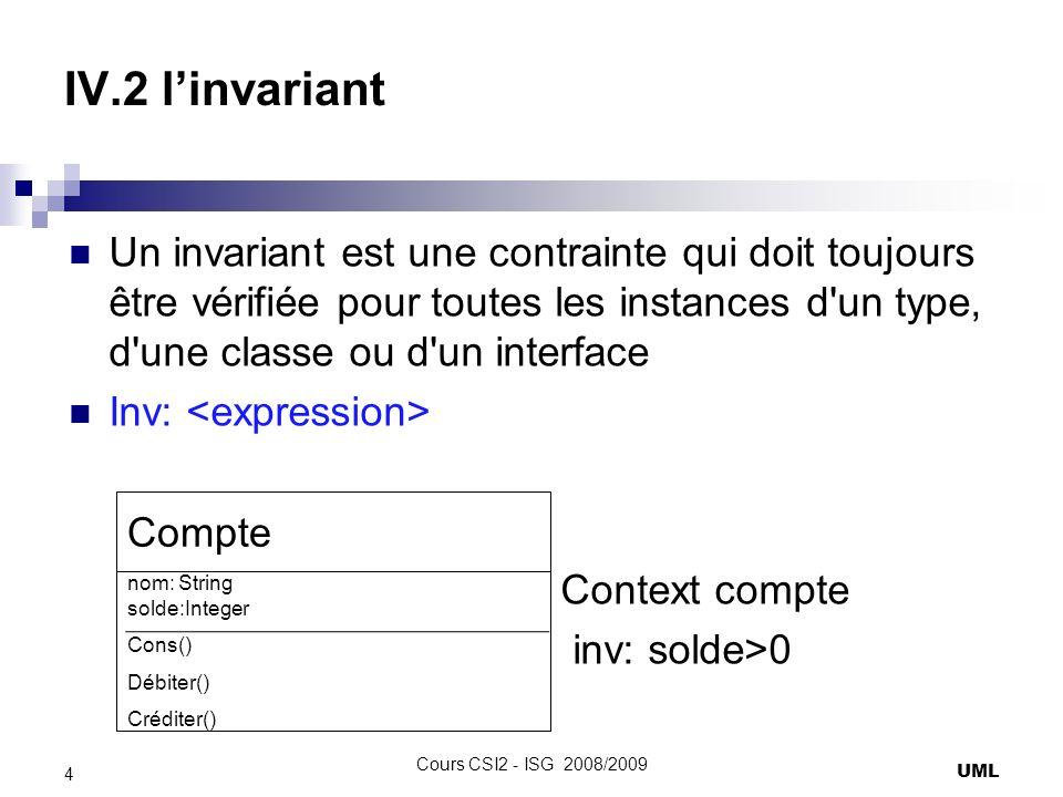 IV.2 linvariant Un invariant est une contrainte qui doit toujours être vérifiée pour toutes les instances d un type, d une classe ou d un interface Inv: Context compte inv: solde>0 UML 4 Cours CSI2 - ISG 2008/2009 Compte nom: String solde:Integer Cons() Débiter() Créditer()