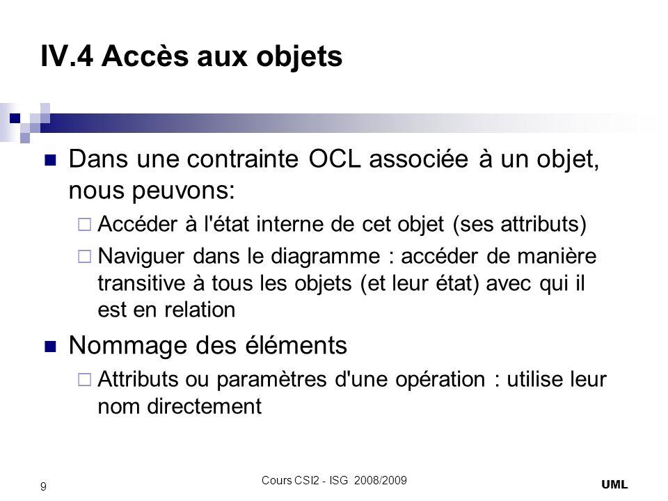 IV.4 Accès aux objets Dans une contrainte OCL associée à un objet, nous peuvons: Accéder à l état interne de cet objet (ses attributs) Naviguer dans le diagramme : accéder de manière transitive à tous les objets (et leur état) avec qui il est en relation Nommage des éléments Attributs ou paramètres d une opération : utilise leur nom directement UML 9 Cours CSI2 - ISG 2008/2009