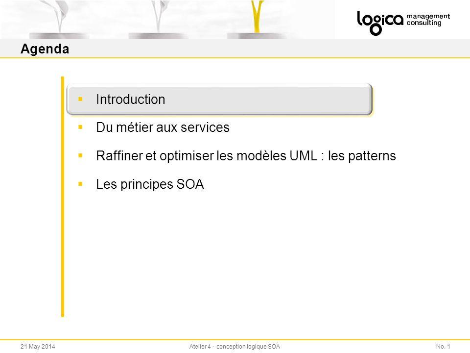 No. 121 May 2014Atelier 4 - conception logique SOA Agenda Introduction Du métier aux services Raffiner et optimiser les modèles UML : les patterns Les