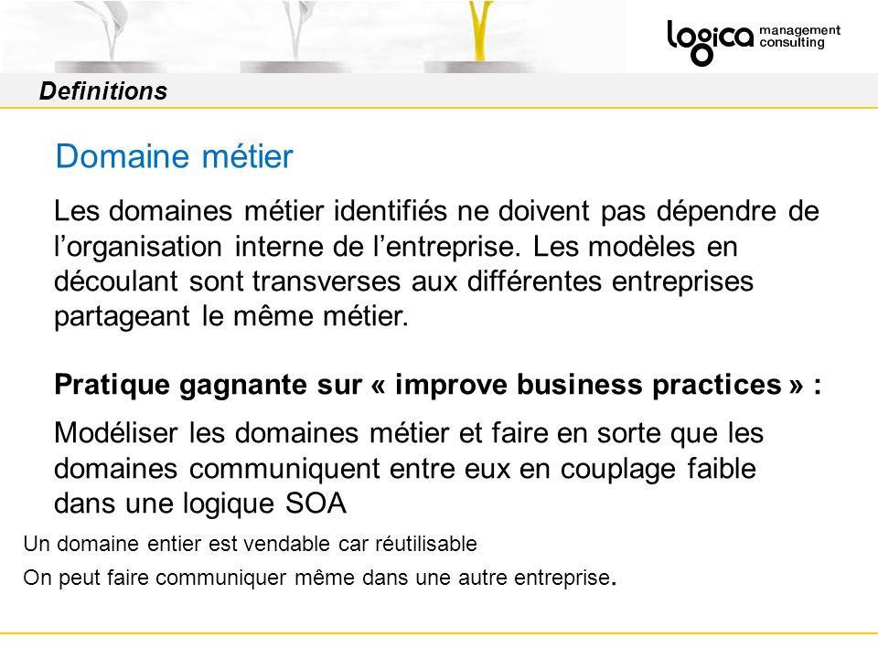 Definitions Domaine métier Les domaines métier identifiés ne doivent pas dépendre de lorganisation interne de lentreprise.