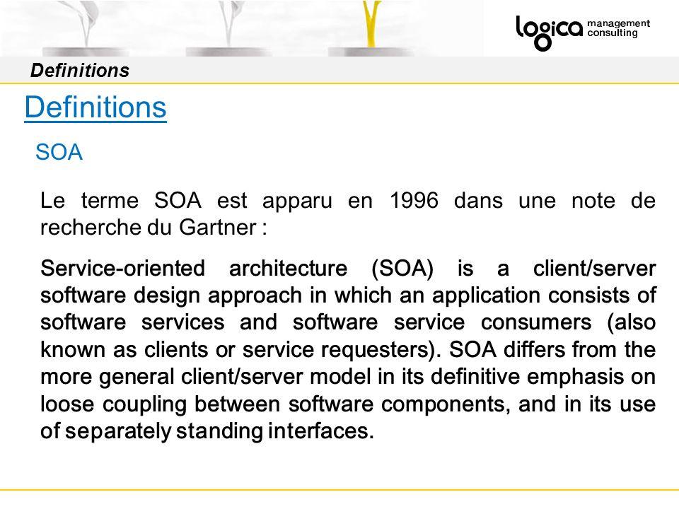 Definitions SOA Le terme SOA est apparu en 1996 dans une note de recherche du Gartner : Service-oriented architecture (SOA) is a client/server software design approach in which an application consists of software services and software service consumers (also known as clients or service requesters).