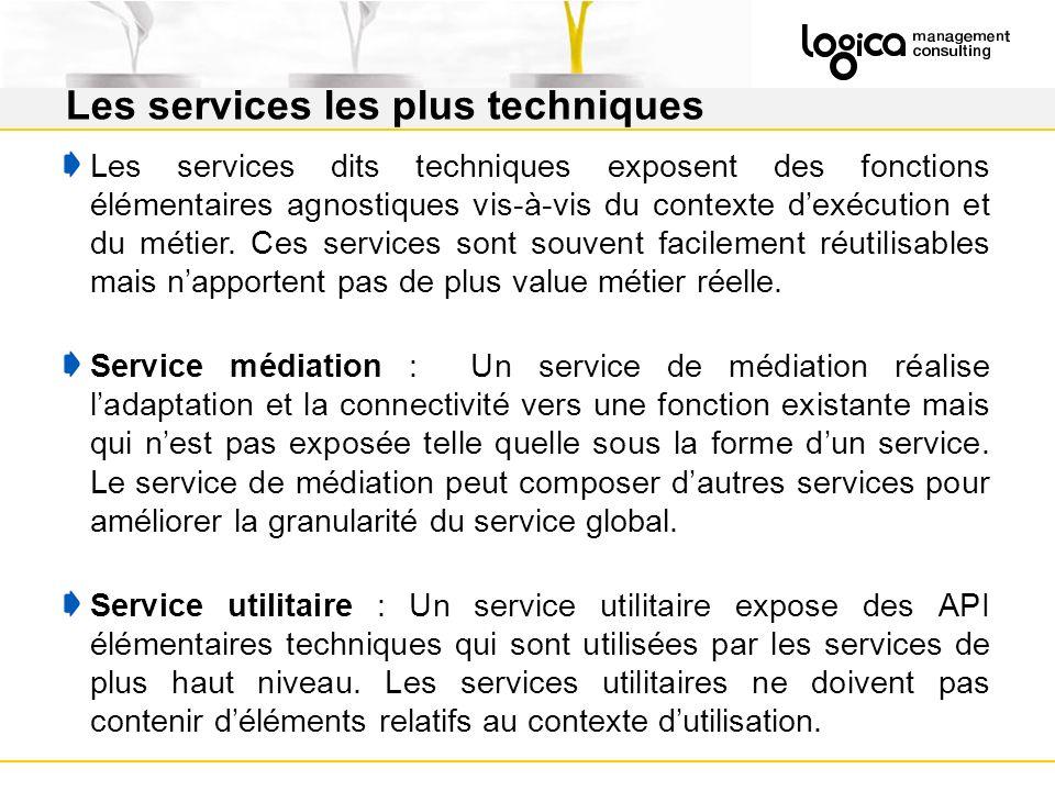 Les services dits techniques exposent des fonctions élémentaires agnostiques vis-à-vis du contexte dexécution et du métier.