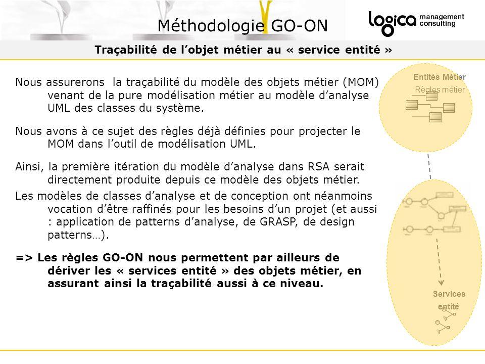 Traçabilité de lobjet métier au « service entité » Méthodologie GO-ON Nous assurerons la traçabilité du modèle des objets métier (MOM) venant de la pure modélisation métier au modèle danalyse UML des classes du système.