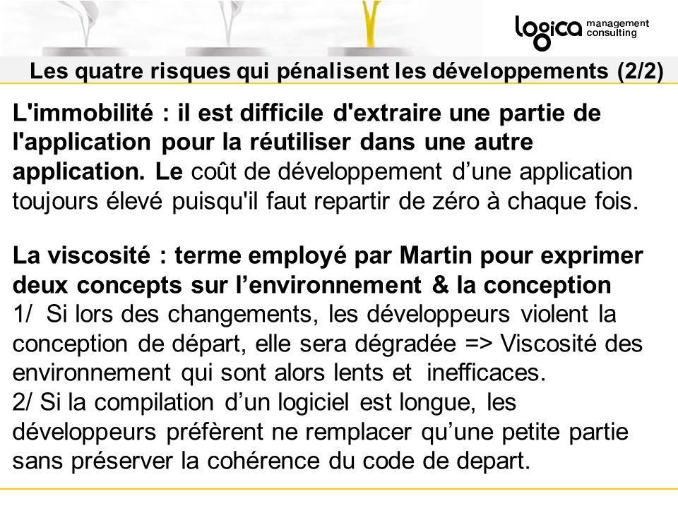 Les quatre risques qui pénalisent les développements (2/2) L immobilité : il est difficile d extraire une partie de l application pour la réutiliser dans une autre application.