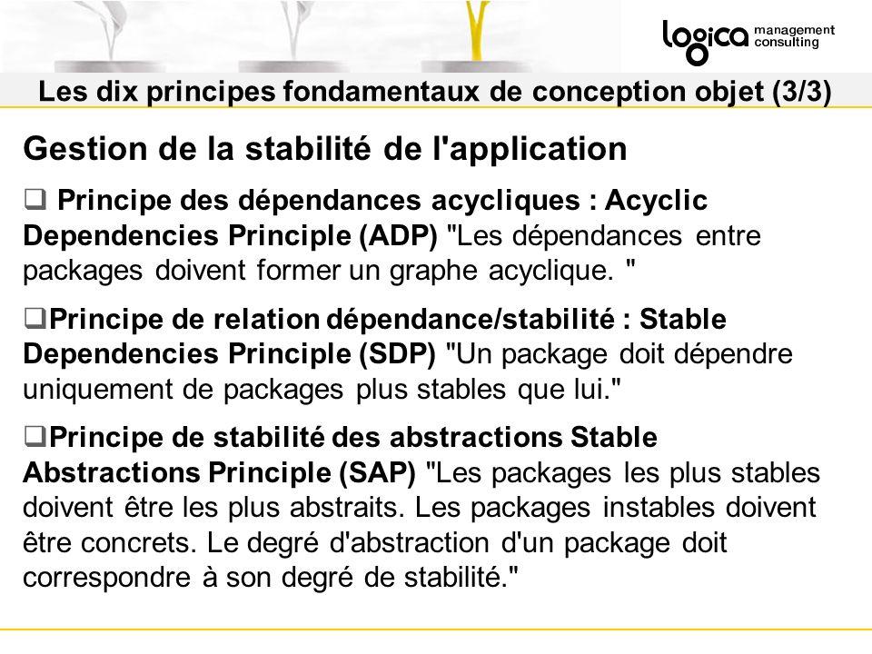 Les dix principes fondamentaux de conception objet (3/3) Gestion de la stabilité de l application Principe des dépendances acycliques : Acyclic Dependencies Principle (ADP) Les dépendances entre packages doivent former un graphe acyclique.