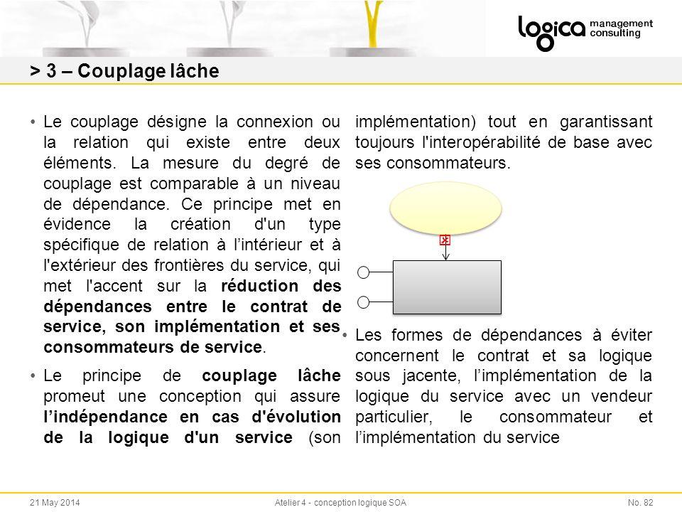 > 3 – Couplage lâche Le couplage désigne la connexion ou la relation qui existe entre deux éléments.