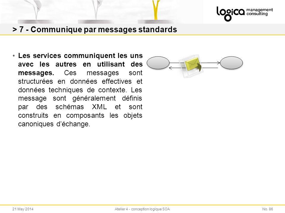 > 7 - Communique par messages standards Les services communiquent les uns avec les autres en utilisant des messages.