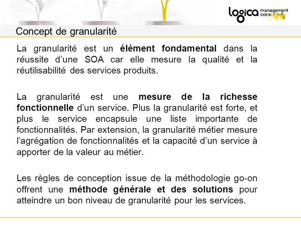 La granularité est un élément fondamental dans la réussite dune SOA car elle mesure la qualité et la réutilisabilité des services produits.
