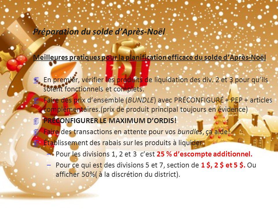 Préparation du solde dAprès-Noël Meilleures pratiques pour la planification efficace du solde dAprès-Noël 4 En premier, vérifier les produits de liquidation des div.