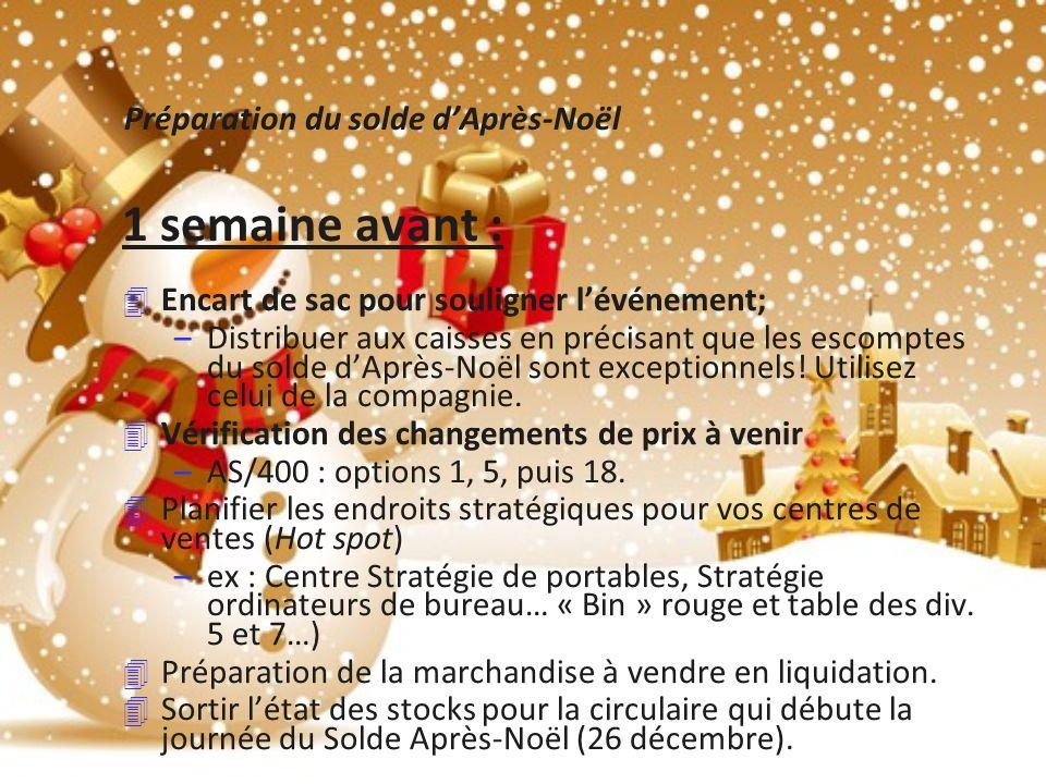 Préparation du solde dAprès-Noël 1 semaine avant : 4 Encart de sac pour souligner lévénement; –Distribuer aux caisses en précisant que les escomptes du solde dAprès-Noël sont exceptionnels.