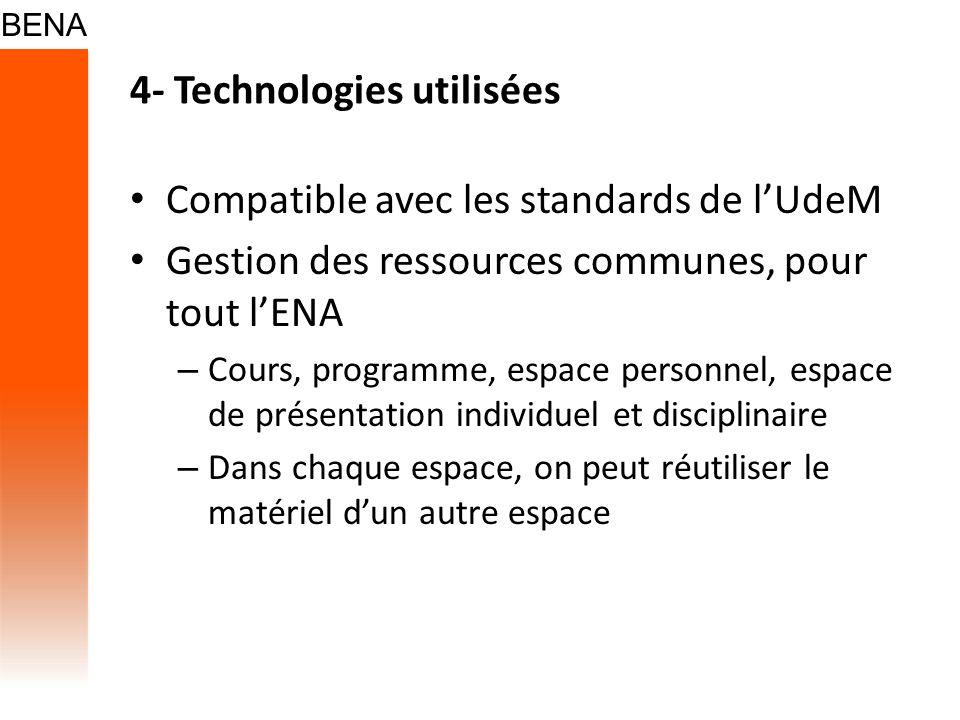 4- Technologies utilisées Compatible avec les standards de lUdeM Gestion des ressources communes, pour tout lENA – Cours, programme, espace personnel,