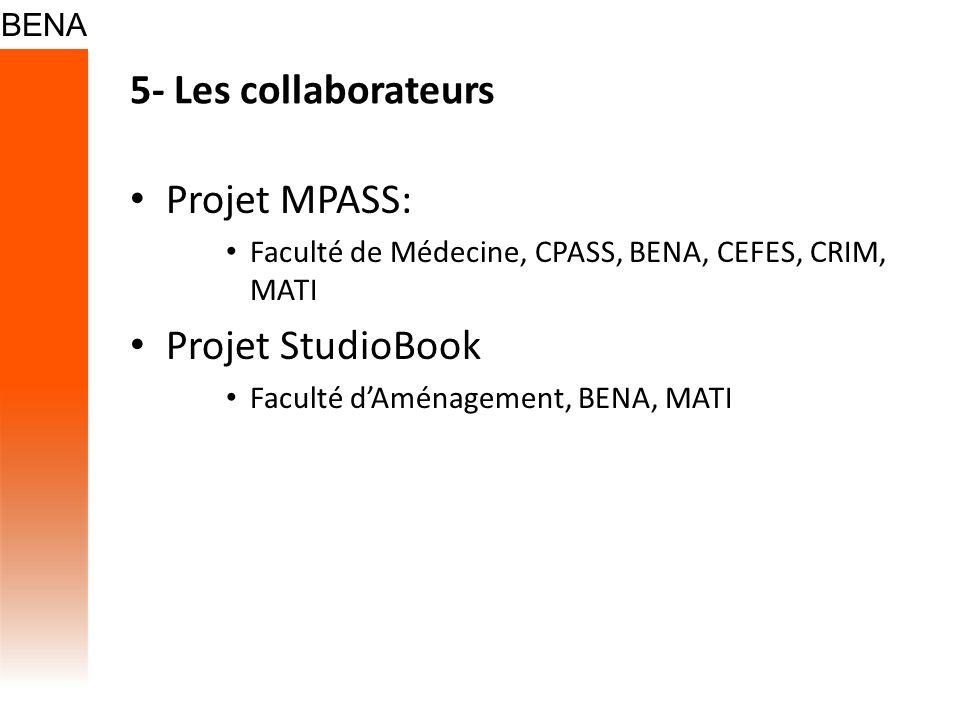 5- Les collaborateurs Projet MPASS: Faculté de Médecine, CPASS, BENA, CEFES, CRIM, MATI Projet StudioBook Faculté dAménagement, BENA, MATI