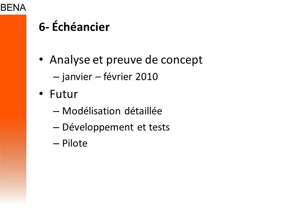 6- Échéancier Analyse et preuve de concept – janvier – février 2010 Futur – Modélisation détaillée – Développement et tests – Pilote