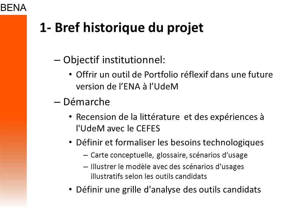 1- Bref historique du projet – Objectif institutionnel: Offrir un outil de Portfolio réflexif dans une future version de lENA à lUdeM – Démarche Recen