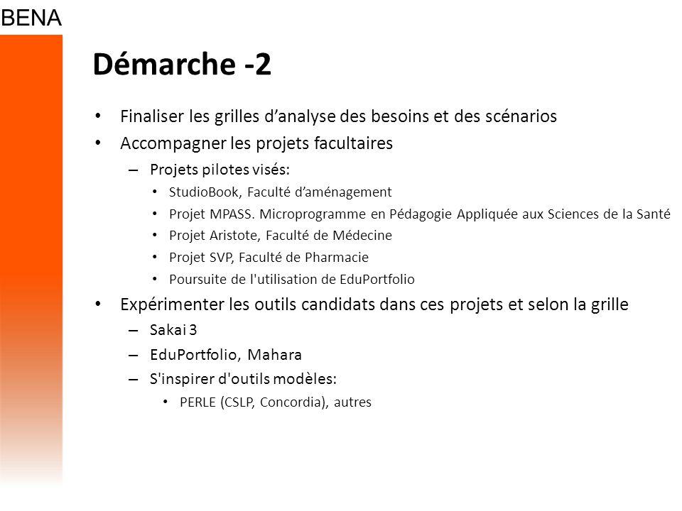 Démarche -2 Finaliser les grilles danalyse des besoins et des scénarios Accompagner les projets facultaires – Projets pilotes visés: StudioBook, Faculté daménagement Projet MPASS.