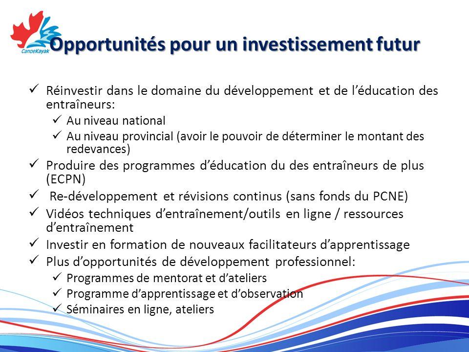 Opportunités pour un investissement futur Réinvestir dans le domaine du développement et de léducation des entraîneurs: Au niveau national Au niveau provincial (avoir le pouvoir de déterminer le montant des redevances) Produire des programmes déducation du des entraîneurs de plus (ECPN) Re-développement et révisions continus (sans fonds du PCNE) Vidéos techniques dentraînement/outils en ligne / ressources dentraînement Investir en formation de nouveaux facilitateurs dapprentissage Plus dopportunités de développement professionnel: Programmes de mentorat et dateliers Programme dapprentissage et dobservation Séminaires en ligne, ateliers