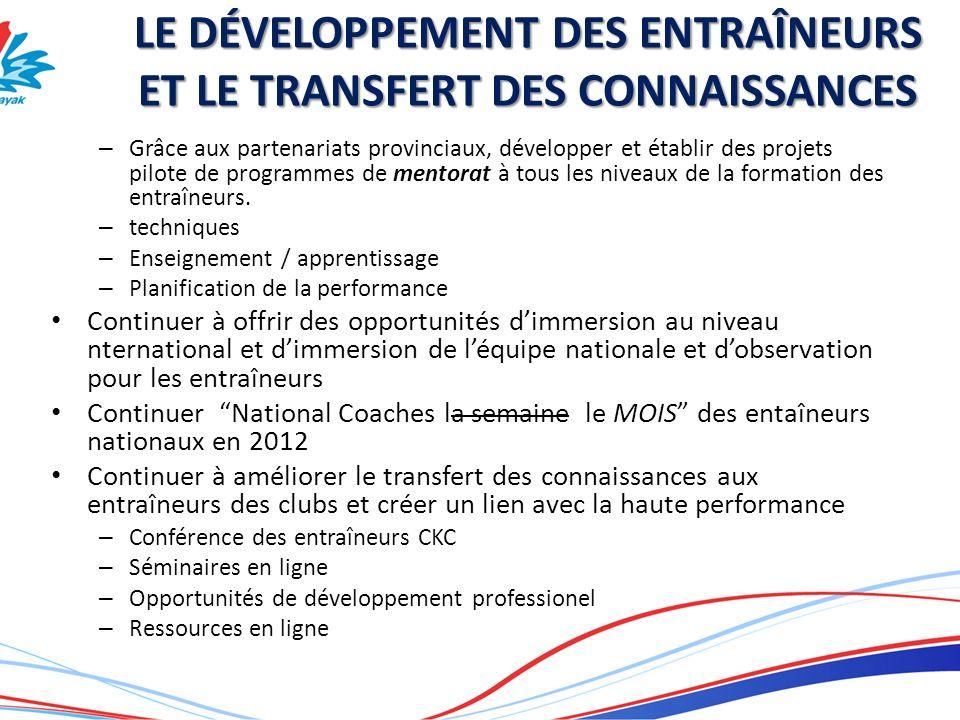 LE DÉVELOPPEMENT DES ENTRAÎNEURS ET LE TRANSFERT DES CONNAISSANCES – Grâce aux partenariats provinciaux, développer et établir des projets pilote de p