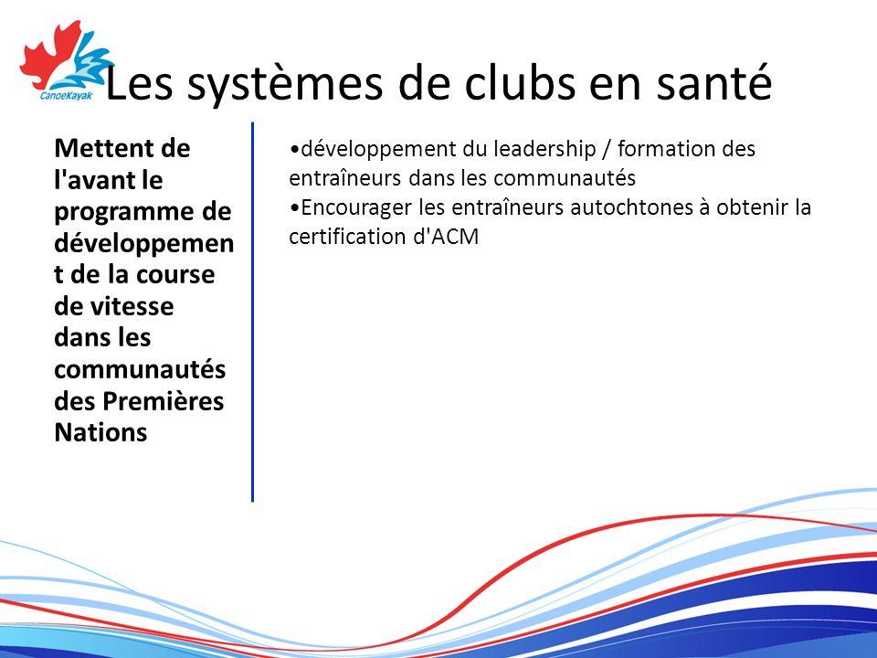 Les systèmes de clubs en santé Mettent de l avant le programme de développemen t de la course de vitesse dans les communautés des Premières Nations développement du leadership / formation des entraîneurs dans les communautés Encourager les entraîneurs autochtones à obtenir la certification d ACM