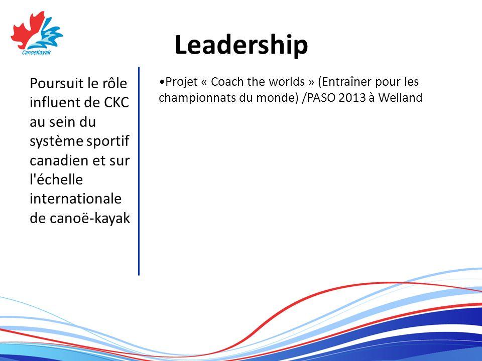Leadership Poursuit le rôle influent de CKC au sein du système sportif canadien et sur l échelle internationale de canoë-kayak Projet « Coach the worlds » (Entraîner pour les championnats du monde) /PASO 2013 à Welland
