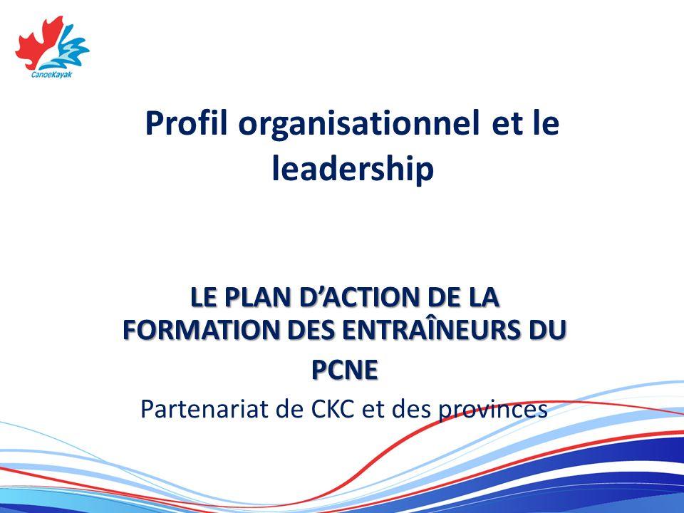 Profil organisationnel et le leadership LE PLAN DACTION DE LA FORMATION DES ENTRAÎNEURS DU PCNE Partenariat de CKC et des provinces