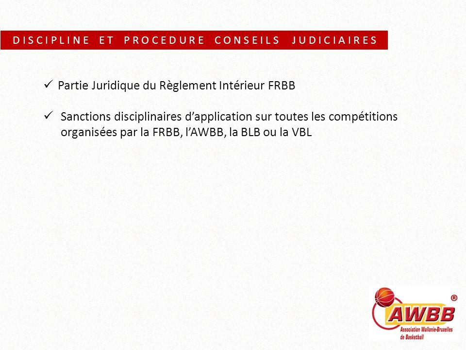 D I S C I P L I N E E T P R O C E D U R E C O N S E I L S J U D I C I A I R E S Partie Juridique du Règlement Intérieur FRBB Sanctions disciplinaires