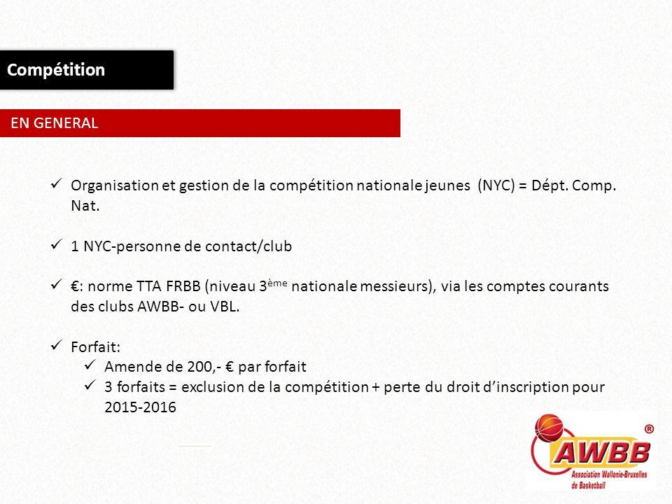Compétition EN GENERAL Organisation et gestion de la compétition nationale jeunes (NYC) = Dépt. Comp. Nat. 1 NYC-personne de contact/club : norme TTA