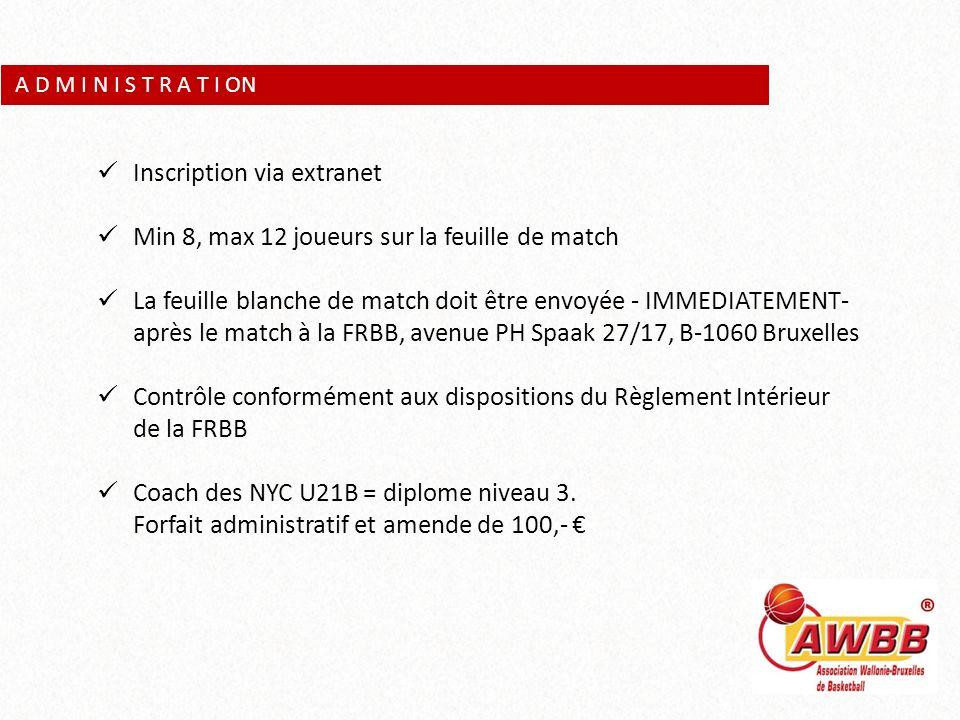 A D M I N I S T R A T I ON Inscription via extranet Min 8, max 12 joueurs sur la feuille de match La feuille blanche de match doit être envoyée - IMME