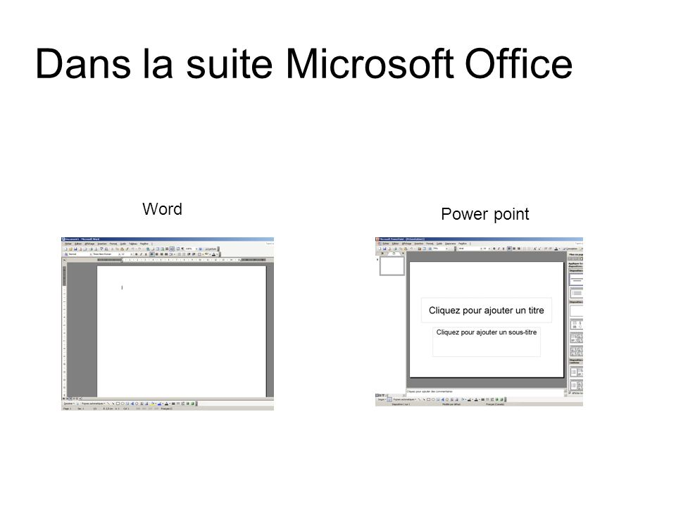Dans la suite Microsoft Office Word Power point