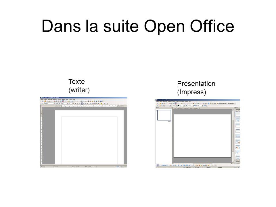 Dans la suite Open Office Texte (writer) Présentation (Impress)