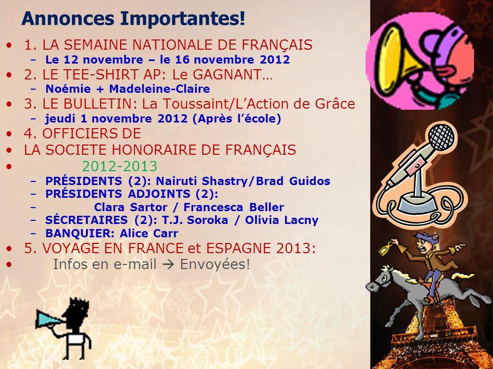 français AP le 2 novembre 2012 ActivitéCahier I. Limparfait : A.