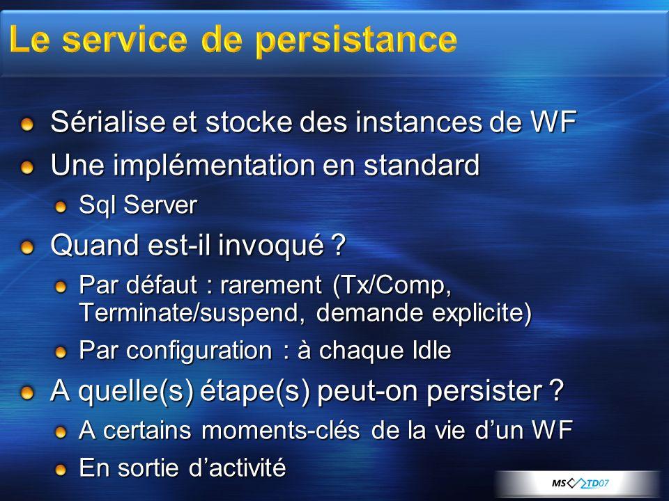 Sérialise et stocke des instances de WF Une implémentation en standard Sql Server Quand est-il invoqué ? Par défaut : rarement (Tx/Comp, Terminate/sus