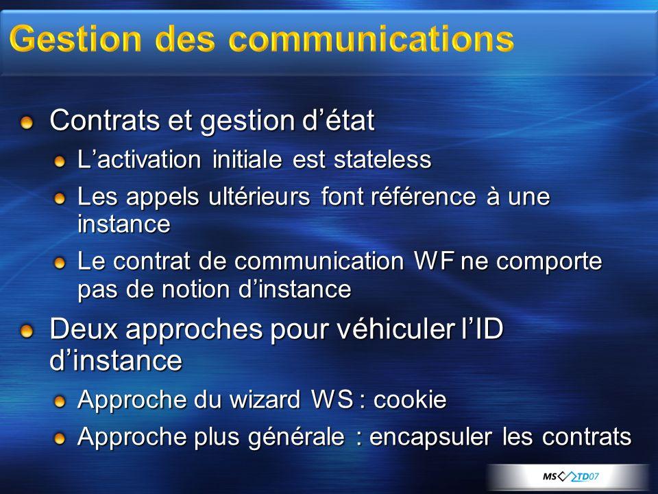 Contrats et gestion détat Lactivation initiale est stateless Les appels ultérieurs font référence à une instance Le contrat de communication WF ne com