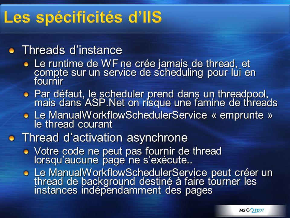 Threads dinstance Le runtime de WF ne crée jamais de thread, et compte sur un service de scheduling pour lui en fournir Par défaut, le scheduler prend