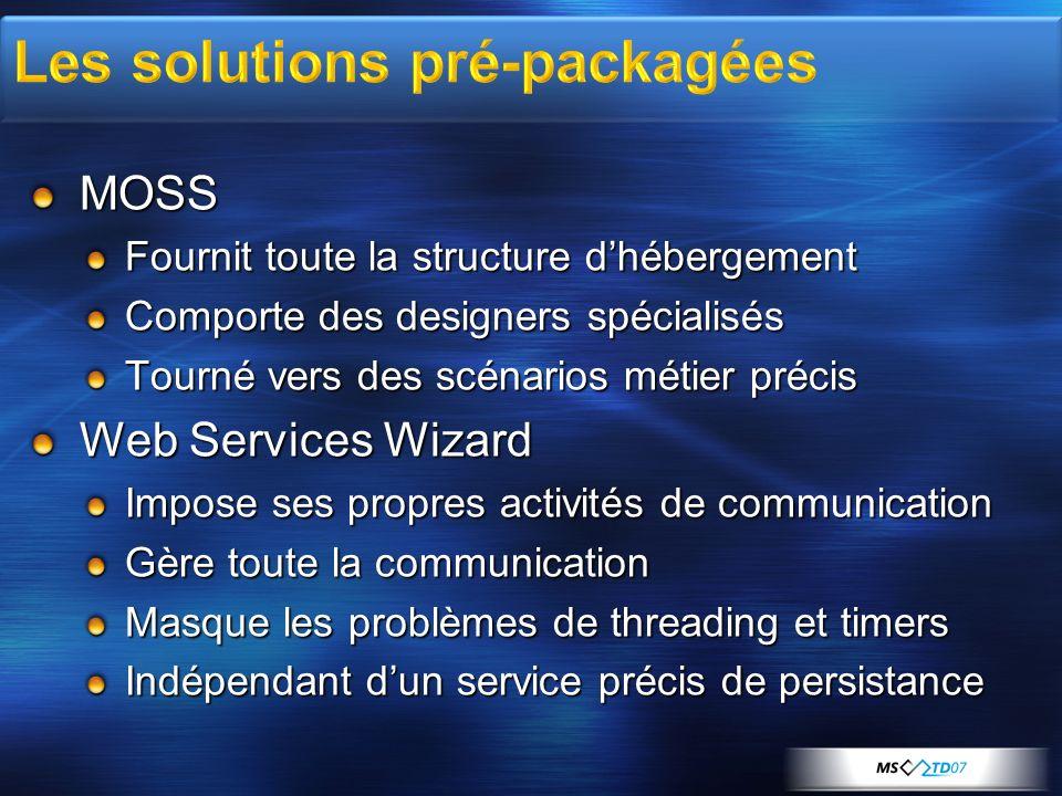 MOSS Fournit toute la structure dhébergement Comporte des designers spécialisés Tourné vers des scénarios métier précis Web Services Wizard Impose ses