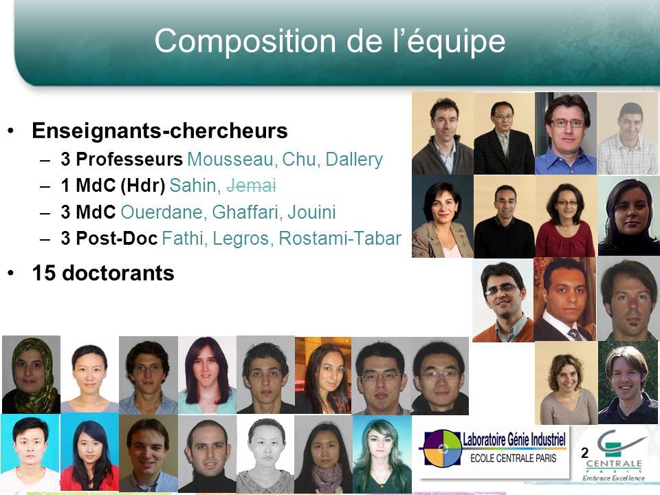 Composition de léquipe Enseignants-chercheurs –3 Professeurs Mousseau, Chu, Dallery –1 MdC (Hdr) Sahin, Jemai –3 MdC Ouerdane, Ghaffari, Jouini –3 Pos