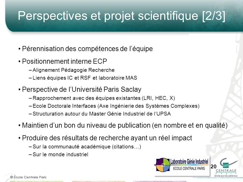 Perspectives et projet scientifique [2/3] Pérennisation des compétences de léquipe Positionnement interne ECP –Alignement Pédagogie Recherche –Liens é