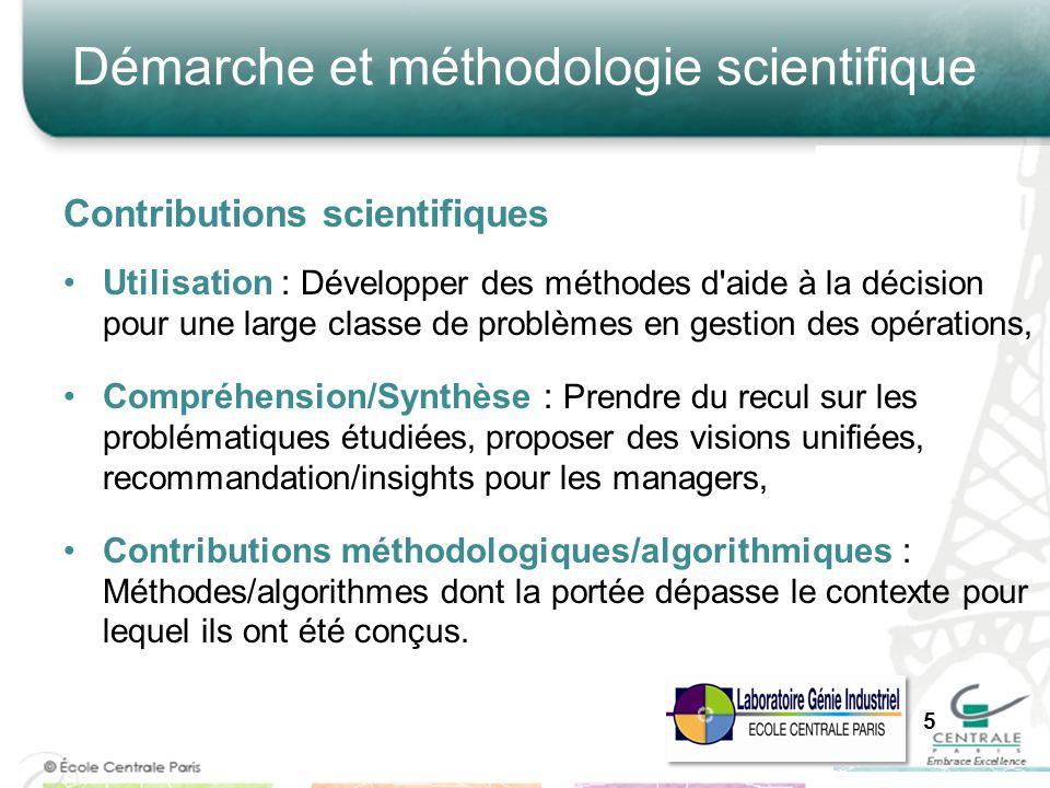 Contributions scientifiques Utilisation : Développer des méthodes d'aide à la décision pour une large classe de problèmes en gestion des opérations, C