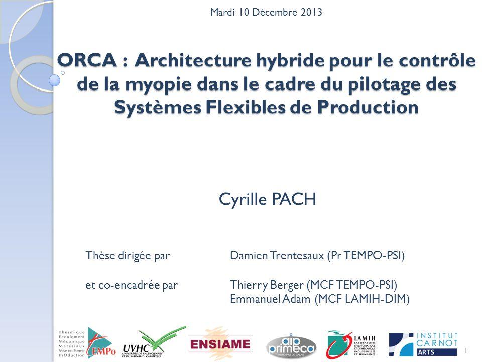ORCA : Architecture hybride pour le contrôle de la myopie dans le cadre du pilotage des Systèmes Flexibles de Production 1 Cyrille PACH Thèse dirigée parDamien Trentesaux (Pr TEMPO-PSI) et co-encadrée parThierry Berger (MCF TEMPO-PSI) Emmanuel Adam (MCF LAMIH-DIM) Mardi 10 Décembre 2013