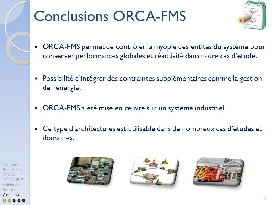 43 Conclusions ORCA-FMS ORCA-FMS permet de contrôler la myopie des entités du système pour conserver performances globales et réactivité dans notre ca